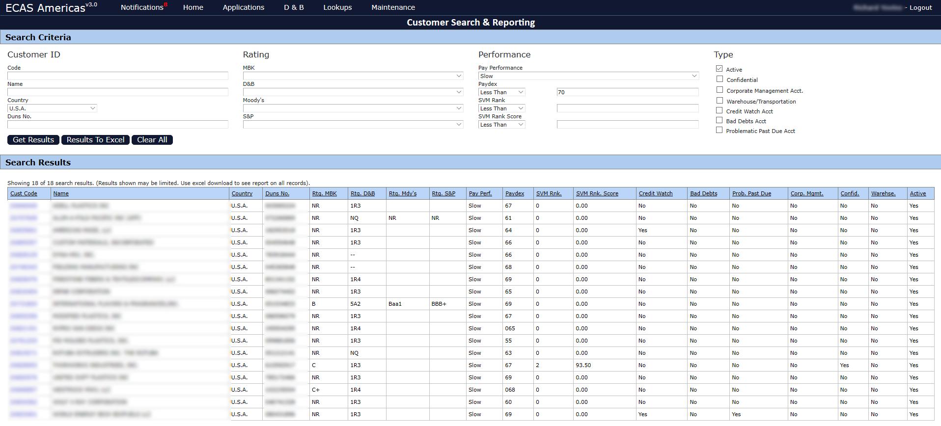 Customer Search & Reporting